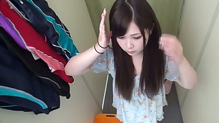 Horny Japanese neonate is trying on swimsuit and she's got a yummy snatch