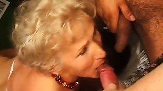 Disgusting granny in hardcore threesome