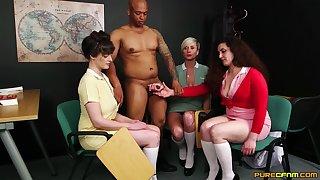 Katsie Olsen and her babes touching a black guy's veiny dick