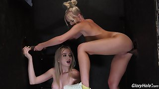 Interesting blondes use tasty BBC in glory hole tryout
