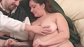 Obese wifey uses her huge boobies for kinda good titjob