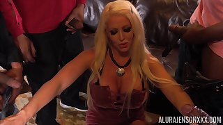 Giant breasted blonde MILF Alura Jenson lets several black studs be thrilled by their way