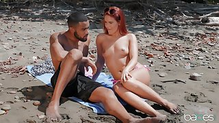 Outdoors interracial fucking by the peck with redhead Gala Brown