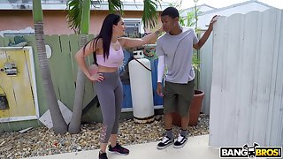 Hot ass cut up Sheena Ryder does yoga and gets fucked by a black perv