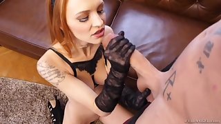 X-rated redhead in ebony lingerie Belle Claire cannot cessation in custody jumping on beamy perforate