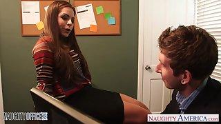 Flirty secretary babe Yurizan Beltran seduces her young boss and sucks his penis