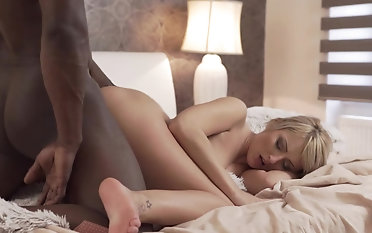 Erotic scenes of interracial sex with a magic blonde