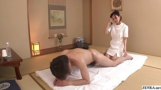 Uncensored JAV tie the knot Manami Komukai CFNM rimjob massage in HD